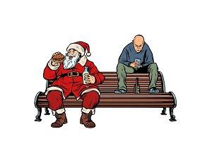 Santa Claus eats fast food Burger