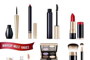 Makeup realistic items set