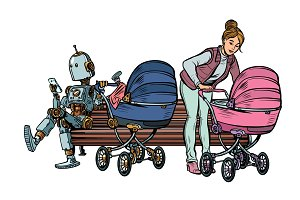 young mother and robot with a baby