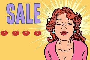 woman kiss sale pop art