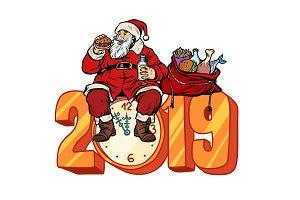 Hungry Santa Claus eating, new year