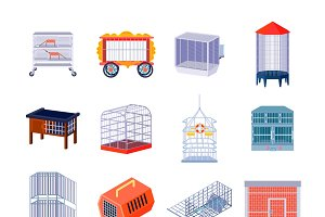Animal box icons set