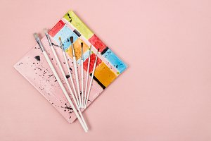 Colorful ceramic plate and brushes