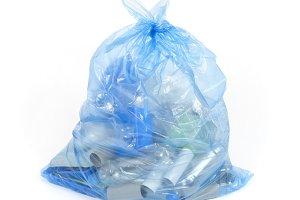 Blue recycling bag