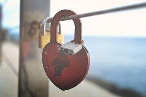heart-shaped padlock