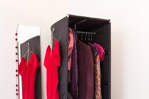 Clothes organizer with clothing and