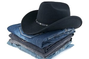 Cowboy hat and jeans for a man
