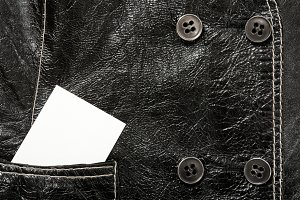 Blank card in a pocket of leather ja
