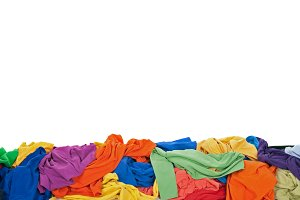 Messy colorful clothes border with s