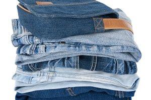 Blue denim clothes and bag