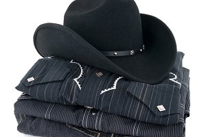 Black cowboy hat and clothes