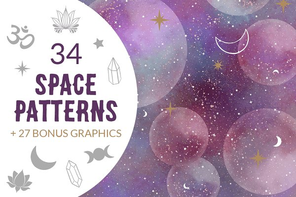 Galaxy Star Moon Patterns