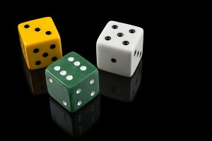 Green, yellow and white dices