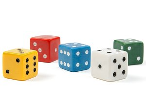Colorful dices on white background