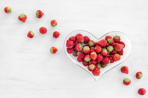 Strawberries in a heart-shaped bowl