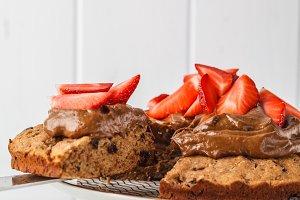 Vegan cake with dark chocolate cream