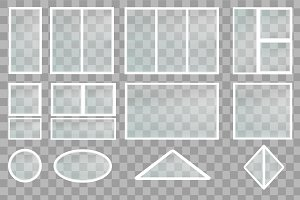 Realistic Glass Windows Set Vector