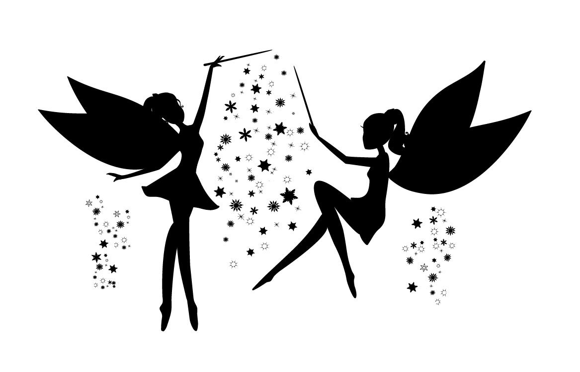 Fairies black silhouette ~ Illustrations ~ Creative Market