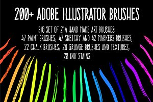 200+ Vector hand drawn brushes