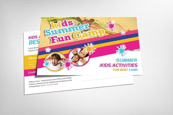 kids summer camp postcard template card templates on creative market. Black Bedroom Furniture Sets. Home Design Ideas