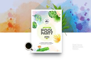 Watercolor Pool Party Poster / Flyer