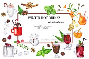 Winter hot drinks watercolor set