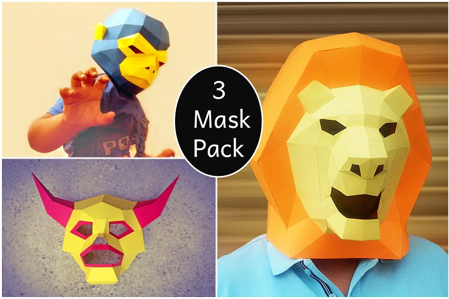DIY 3 Party Mask Pack -3d papercfrat