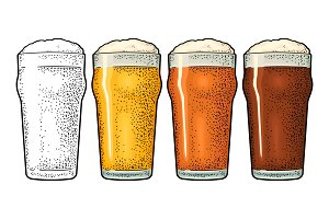 Glass three types beer engraving