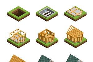 House construction isometric set