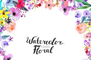 Watercolor Flower Border hand