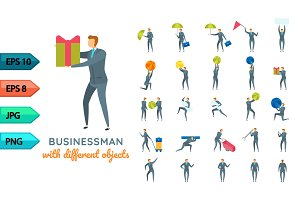 Vector business character poses set