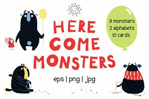 Here Come Monsters Vector Set