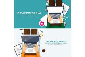 Programming,coding. Flat computing