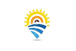 SUN AND SEA POINT LOCATION PIN ICON