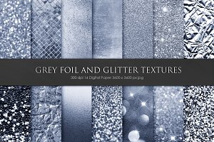 Grey Foil and Glitter Textures