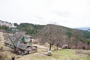 Old wooden vintage and rusty house a