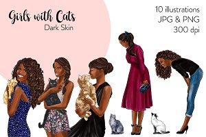 Girls with Cats - Dark Skin