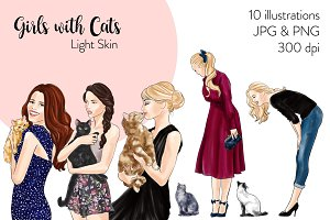 Girls with Cats - Light Skin