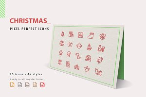 Christmas Icon Set in 6 Styles