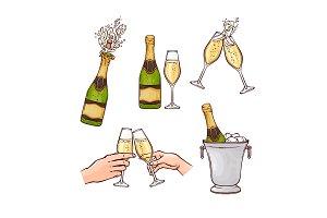 Flat champagne splash popping cork