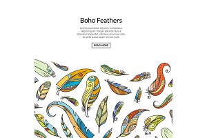 Vector boho doodle feathers