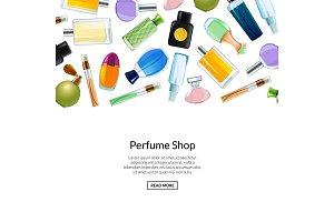 Web banner vector perfume bottles