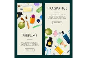Vector perfume bottles web banner