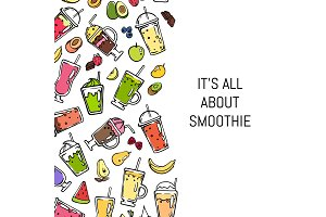 Vector doodle smoothie background