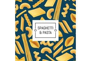 Vector realistic pasta types