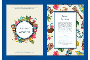 Vector cartoon summer travel card or