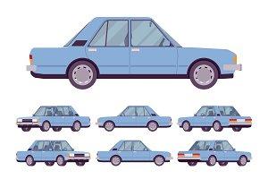 Blue sedan set