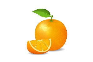 3d Whole Orange and Slice. Vector
