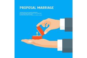 Cartoon Proposal Marriage Concept