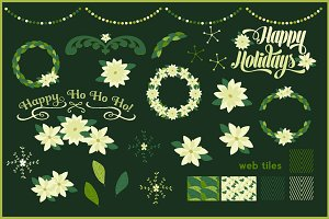 Poinsettias & Wreaths Vector 50% Off